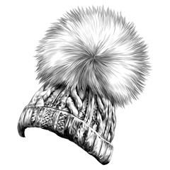 hat with pompon sketch vector graphics monochrome black-and-white drawing