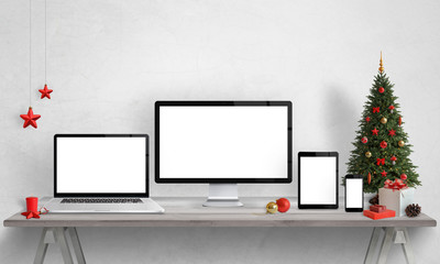 Responsive devices mockups with Christmas decorations. Isolated screen of devices for web site design presentation.
