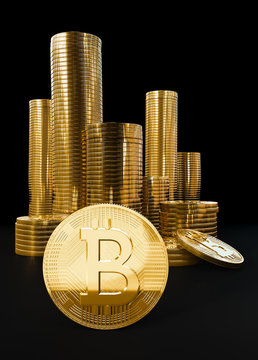 Pile of Bitcoin digital cryptocurrency coins