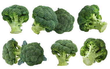 Fresh broccoli isolated on white background with clipping path set