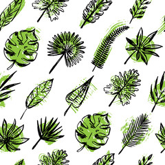 Seamless pattern of tropical leaves.