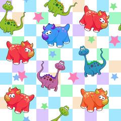 vector seamless cute graphical cartoon dinosaur pattern. childhood design.