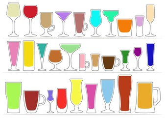 Collection icons of glasses with colored drinks. Vector illustration