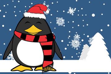 xmas happy penguin cartoon expression santa claus hat background in vector format