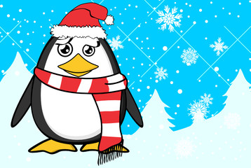 xmas funny penguin cartoon expression santa claus hat background in vector format
