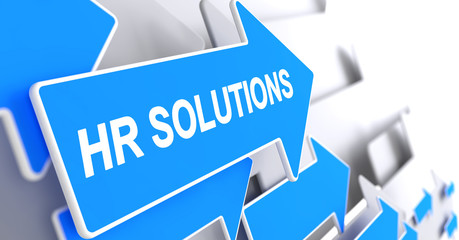 HR Solutions - Text on the Blue Pointer. 3D.