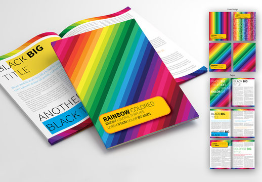 Colorful Rainbow Stripe Brochure Layout