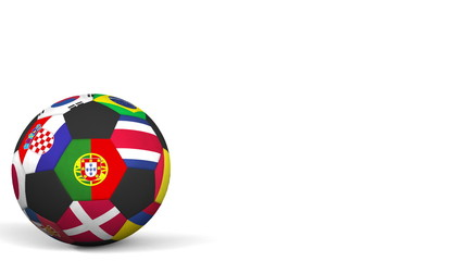 Football ball featuring different national teams accents flag of Portugal. 3D rendering