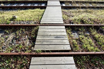 walkway over rusty rails with wooden sleepers and encroaching vegetation