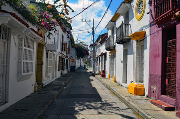 Quaint and colorful street in the old section of Cartagena,Columbia