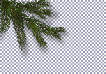 Christmas, New Year. Realistic green tree branch and its shadow. Against the background of the checkered. illustration Fototapete