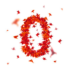 Number 0. Numbers with origami paper bird on abstract background