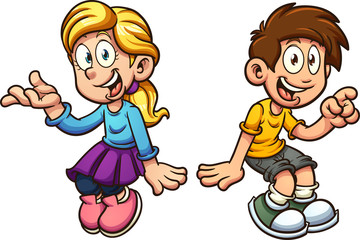 Cartoon boy and girl sitting next to each other. Vector clip art illustration with simple gradients. Each on a separate layer.