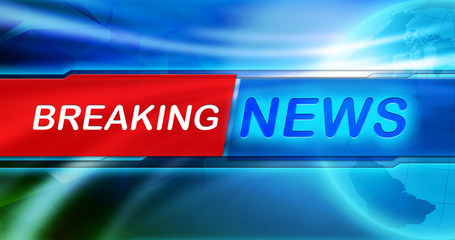 News background wallpaper. Breaking news tag in the center of banner at blue shiny background.