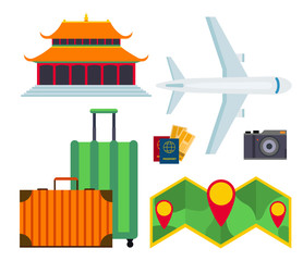 Travel vector icons flat tourism vacation place tourist attractions travelers illustration.