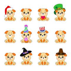 Twelve Emoji Dogs