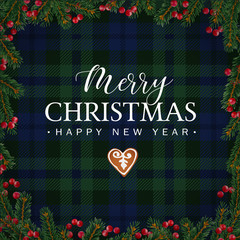 Scottish photos royalty free images graphics vectors videos merry christmas greeting card invitation with christmas tree branches red berries border and gingerbread m4hsunfo