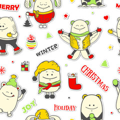 Christmas seamless pattern with funny characters. Set of colorful scrapbook personages. Vector illustration with cute monsters for new year greeting card, winter holiday cover art, wrapping.