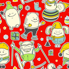 Christmas seamless pattern with funny characters. Set of scrapbook personages on red background. Vector illustration with cute monsters for new year greeting card, winter holiday cover art, wrapping.