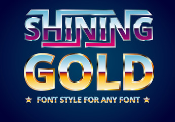 Violet and Gold Metal Font Style