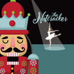 Christmas nutcracker cartoon illustration. Wooden soldier toy gift from the ballet. EPS 10 vector illustration.