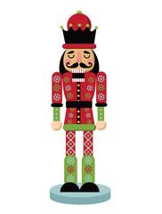 Christmas nutcracker cartoon illustration. Wooden soldier toy gift from the ballet. EPS 10 vector illustration.