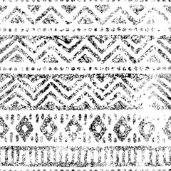 Seamless geometric pattern. Print for your textile. Ethnic and tribal motifs. Black and white ornament. Grungy texture.