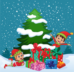 Christmas elves with presents