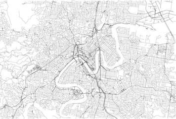Strade di Brisbane centro, cartina della città, Australia. Stradario