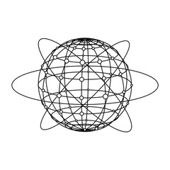 Global network connection. Planet with dots and line composition concept of global business. Vector illustration