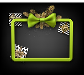 Christmas background with gifts and green bow.