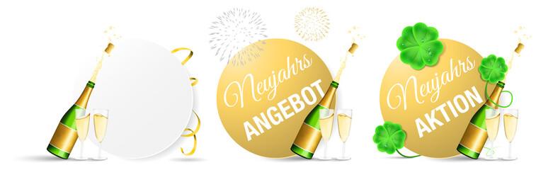 Silvester Neujahr Angebot Aktion Button Set