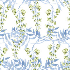 Background of flowers on a branch of a wisteria. Seamless pattern