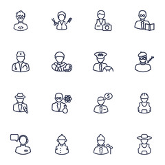 Set Of 16 Job Outline Icons Set.Collection Of Photographer, Teacher, Barber And Other Elements.