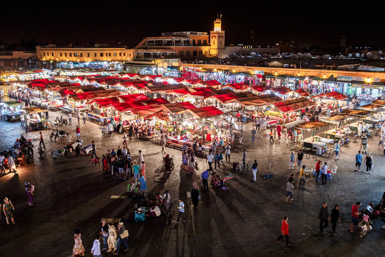 Jemma el Fnaa or Djemma el Fna famous square in Marrakesh, Morocco