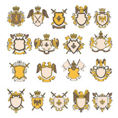 Colored pictures set of heraldic elements