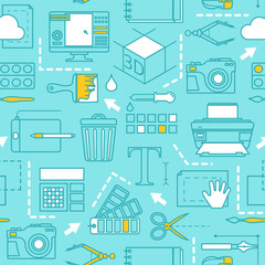 Different tools for computer designers. Vector seamless pattern