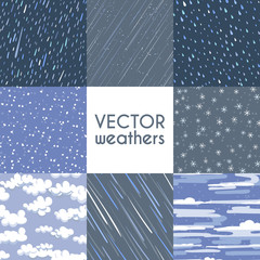 Different types of rainfall. Autumn rainy, snow and other seamless pattern collection