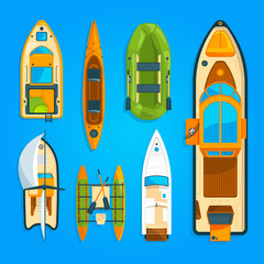 Speed motor boat, sea ship, yacht and other marine transport. Vector pictures set top view