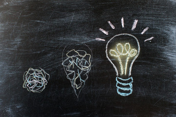 Chalkboard with Chalk Drawing of Hanging Light Bulb. Bright idea on blackboard concept. Way of thinking, birth of idea. Creative, bright, interesting idea. Eureka, thought, flash, inspiration.
