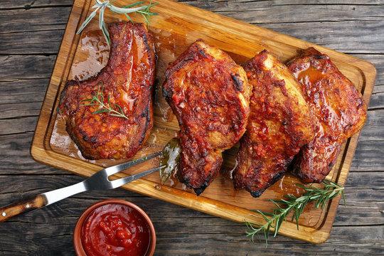 Roasted tender, juicy Pork Chops on board