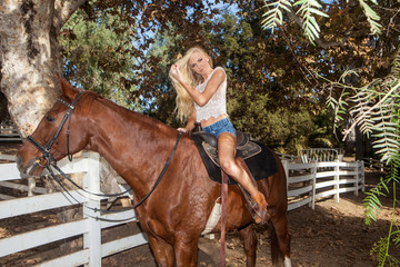 pretty blond with her horse