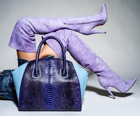 Part of women legs in beautiful fashionable batford high heels.