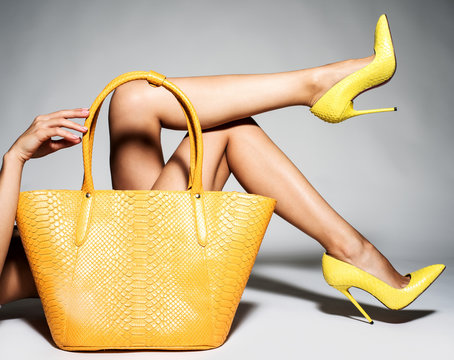 Part of women legs in beautiful fashionable high heels