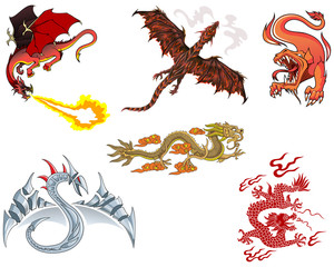 Set of different dragons, European and Asian, vector illustration