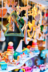 Stall with wooden toys and Christmas tree decorations Riga