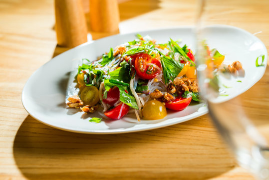 salad with vegetables and noodles with cherry tomatoes
