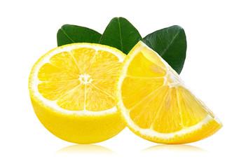 Slice of lemon fruit with leaf isolated on white background
