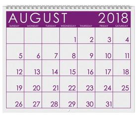 2018 Calendar: Month Of August
