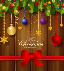 Christmas background with decorations element and red ribbon